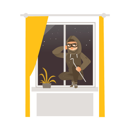 Thief in mask, robber breaking into house through window. Stock Illustratie