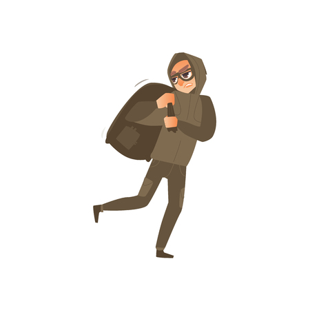 Thief in mask, robber, burglar running away with a large bag of booty, flat comic vector illustration isolated on white background. Thief, burglar in mask and black suit runs with a bag of loot