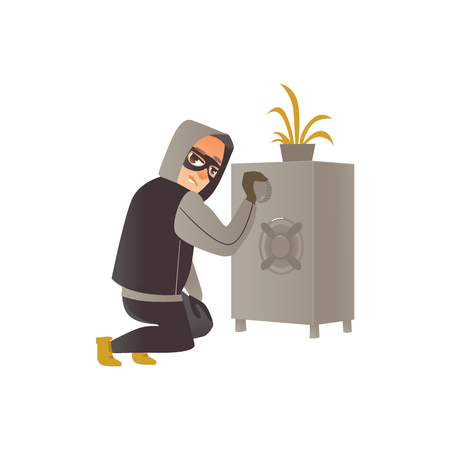 Thief in mask, burglar trying to break a safe, committing a crime, flat comic vector illustration isolated on white background. Thief, burglar in mask and black suit breaking a safe