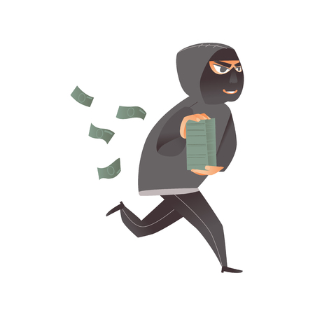 Thief in mask, robber, burglar running away with money, a pile of dollars, flat comic vector illustration isolated on white background. Thief, burglar in mask and black suit runs away with money