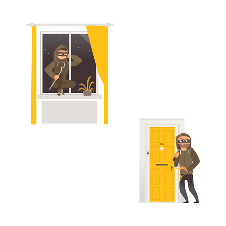 vector cartoon thief burglar housebreaker in mask, hood, breaking and entering in a victims house set. One does it through the door holding stolen keys in hand, another man opening window by crowbar