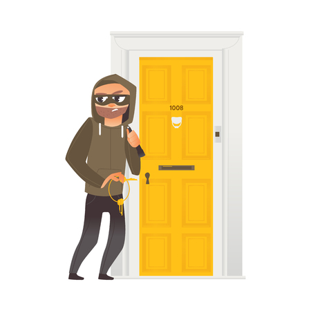 vector cartoon thief burglar housebreaker in mask, hood, breaking and entering in a victims house holding stolen keys in hand. Isolated illustration on a white background.