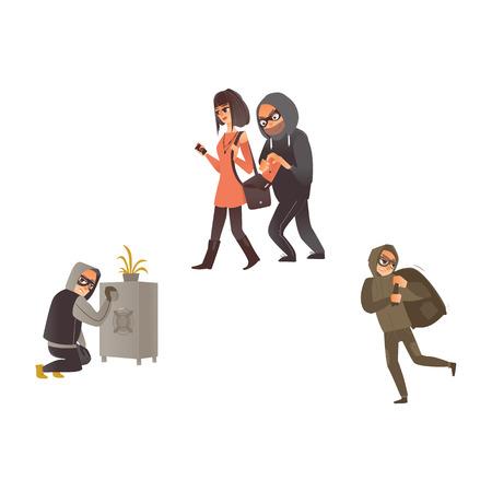 vector cartoon thief scenes set. Man burglar in hood pickpocket stealing wallet from the handbag of beautiful woman.
