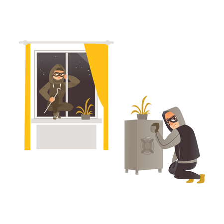 vector cartoon thief burglar housebreaker in mask, hood, breaking and entering in a victims house through window.
