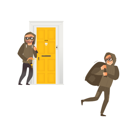 vector cartoon thief burglar housebreaker in mask, hood, breaking and entering in a victims house holding stolen keys in hand, robber holding bag with stolen money. Isolated illustration