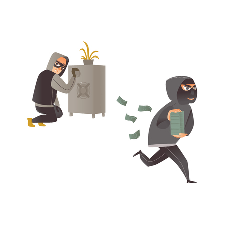 vector cartoon thief scenes set. Man burglar in hood opening safe box, robber in mask running holding pile of stolen money banknotes. Isolated illustration on a white background.