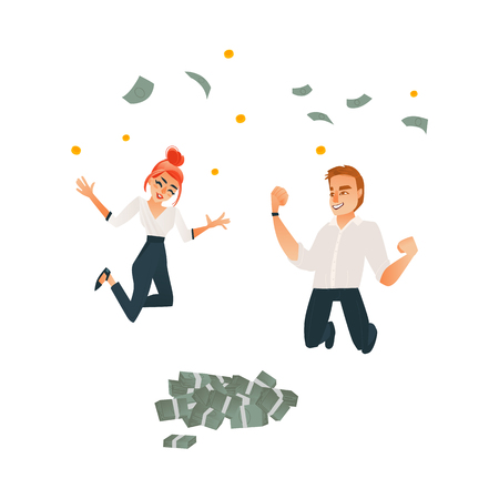 Successful business man, cute redhead office woman jumping under money rain. 写真素材 - 93767721
