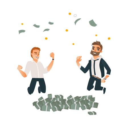 I riusciti uomini d'affari che saltano sotto i soldi piovono vicino ai mucchi del dollaro messi. Personaggi maschili nel sorridere corporativo dell'abbigliamento dell'ufficio. Illustrazione isolata fumetto di vettore, fondo bianco Archivio Fotografico - 93766800
