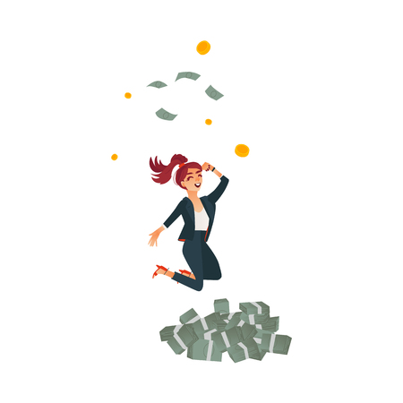 Beautiful successful business girl in formal suit, pants jumping under money rain, dollar piles. Cute woman in office corporate clothing smiling. Vector cartoon isolated illustration, white background Illustration