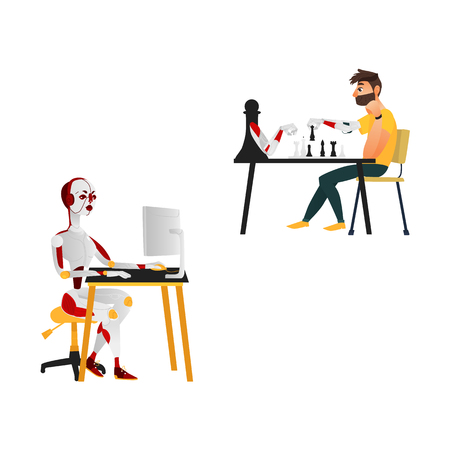vector cartoon futuristic people robots interactions icons. Female robot working at desktop pc, cyborg playing chess with man. Brain technology, artificial intelligence. Isolated illustration