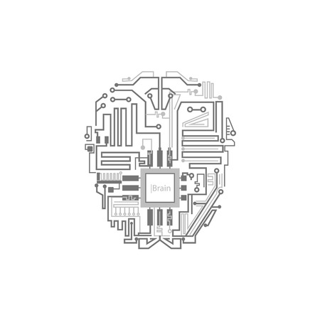 Robot brain shown as digital circuit scheme, artificial intelligence concept, flat style vector illustration isolated on white background. Android, cyborg, robot brain circuit, artificial intelligence Ilustrace