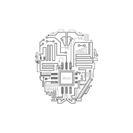 Robothersenen getoond als digitaal schakelschema, kunstmatig intelligentieconcept, vlakke stijl vectordieillustratie op witte achtergrond wordt geïsoleerd. Android, cyborg, robot hersencircuit, kunstmatige intelligentie