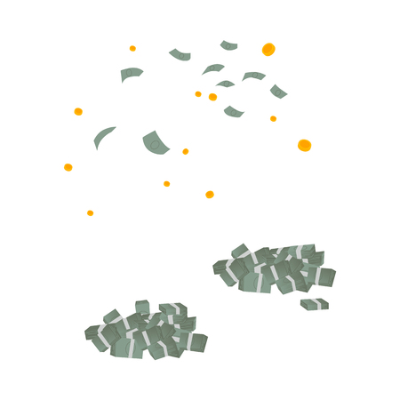 Falling from air money and golden coins rain and two big piles with dollar banknotes. Success, business finance, goals and achievements concept. Vector flat isolated illustration on a white background
