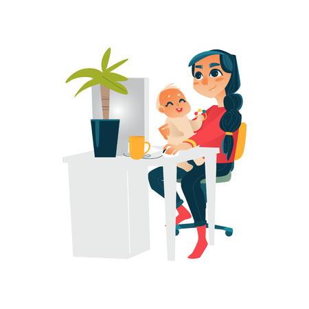 Young mother, woman, girl working from sitting at computer table with baby on her knees.