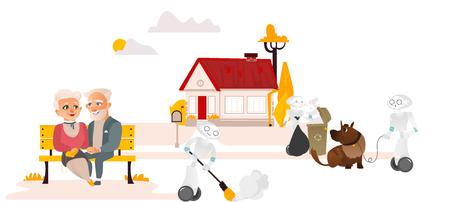 Robots doen huishoudelijk werk, nemen afval weg, wandelen hond, vegen terwijl mensen ontspannen en niets doen. Stockfoto - 93768984