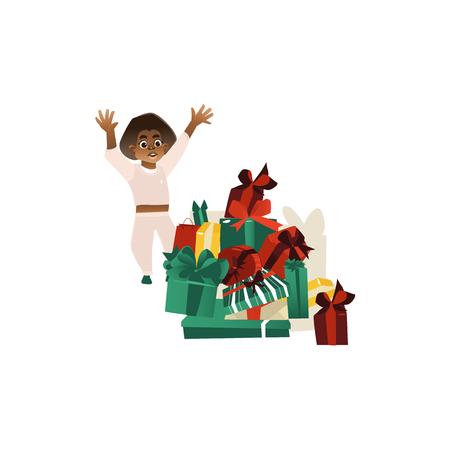 幸せな黒、アフリカ系アメリカ人の少年とクリスマスの大きなヒープ、新年のプレゼント、白い背景に隔離されたフラット漫画ベクトルイラスト。  イラスト・ベクター素材