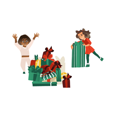 vector cartoon kids with Christmas, new year presents. Young girl in red dress holding big present box , black African boy rejoices near present box pile. Isolated illustration on a white background. Illustration