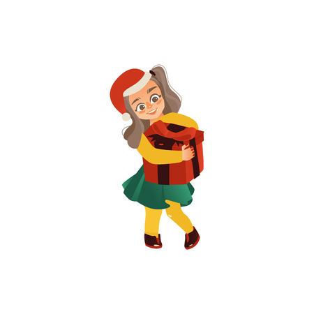 クリスマス、新年プレゼント、ギフトボックス、白い背景に隔離されたフラット漫画ベクトルイラストを保持サンタ帽子の面白い十代の女の子。ク