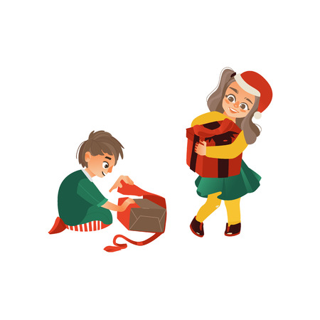 vector flat kids with presents. Young girl kid in red christmas hat standing holding big present box with , caucasian boy sitting opening present box. Isolated illustration on a white background.
