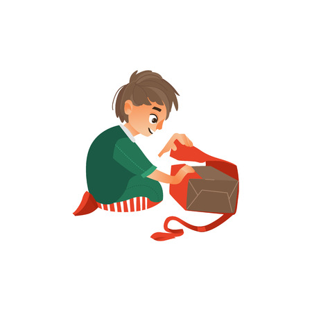 Happy teenage boy opening a Christmas, New Year, birthday present, gift, flat cartoon vector illustration isolated on white background. Teenage caucasian boy, kid opening a present, side view portrait