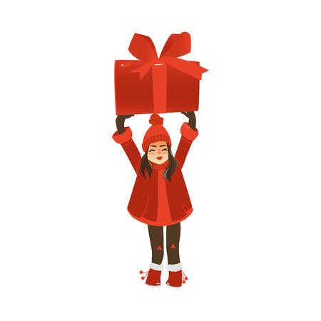 巨大なクリスマス、新年プレゼント、頭の上にギフトボックス、白い背景に隔離されたフラット漫画ベクトルイラストを保持する暖かい服の女の子