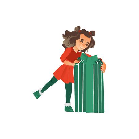 大きな、巨大なクリスマス、新年のプレゼント、贈り物、白い背景に隔離されたフラット漫画ベクトルイラストを開く幸せな十代の女の子。赤いド