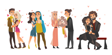 Vector cute young couples in love dating at valentines day set.