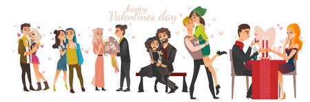 愛の幸せな若いカップル - 抱擁、キス、デート、プロポーズ、バレンタインデーを祝います。