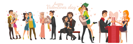 Happy young couples in love - hugging, kissing, dating, proposing, celebrating Valentine day.