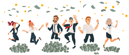 Happy people, men and women, celebrating business success, jumping under money rain, flat cartoon vector illustration isolated on white background. Set of business men and women jumping in money Illustration