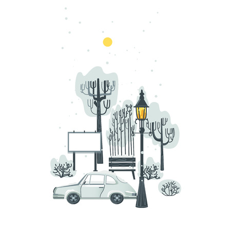 City, urban scene with car, trees, street lamp, park bench and billboard in winter under snow, flat vector illustration isolated on white background. Flat winter city, urban park, car and street light 向量圖像
