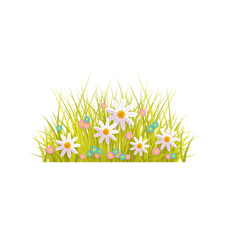 Spring grass and flowers, Easter greeting card decoration element, cartoon vector illustration isolated on white background. Cartoon style Easter decoration element with spring grass and first flowers Illustration
