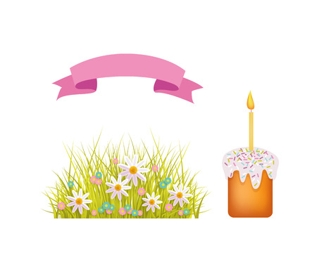 A vector flat Easter holiday, spring objects icon set. green fresh grass, white daisy flowers on meadow, cake with candle and icing and pink ribbon. Isolated illustration on a white background. Illustration