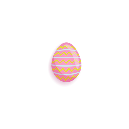 Pink painted Easter egg decorated with star and dot pattern, cartoon vector illustration isolated on white background. Cartoon style pink painted egg, Easter decoration element Çizim