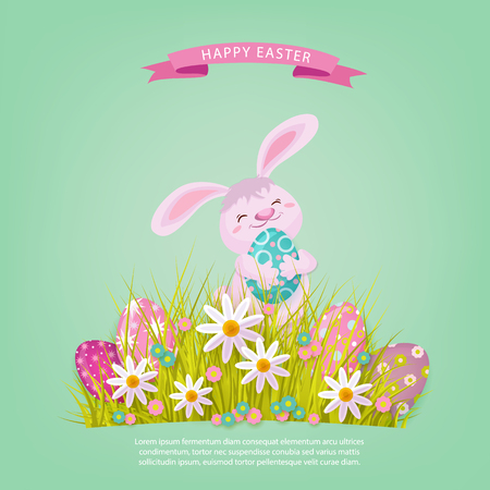 vector easter holiday poster, banner background template with spring festive elements - pink rabbit staying at meadow with green grass, decorated eggs, daisy flowers. Illustration on green background
