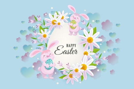 Horizontal Easter sale banner, postcard, card with egg shaped center element, text and cute bunnies, vector illustration. Happy Easter postcard, greeting card, banner template with bunnies and flowers Illustration