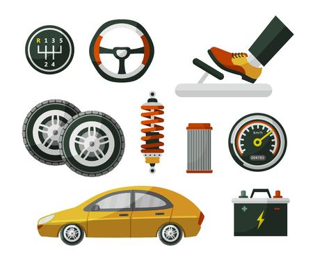 Carro, automóvel, automóvel e conjunto de roda de peças, pneus, pedal, velocímetro, bateria, filtro de ar e amortecedor, ilustração em vetor plana dos desenhos animados isolada no fundo branco. Conjunto de autopeças