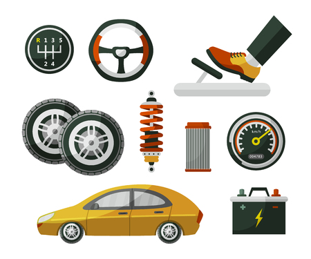 Car, auto, automobile and set of parts wheel, tires, pedal, speedometer, battery, air filter and shock absorber, flat cartoon vector illustration isolated on white background. Set of auto parts Vettoriali