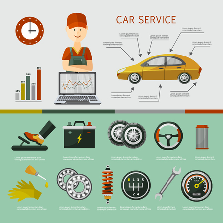 vector flat car service infographic posters set with man professional mechanic, car parts repairing process, tools, equipment and laptop with car diagnostics icons. Illustration on grey background.