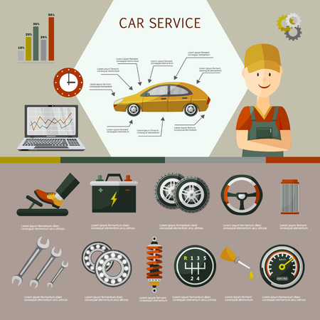 Vector flat car service infographic posters set with mechanic, car parts - battery, wheel, repairing process, tools, equipment, laptop with car diagnostics icons illustration on grey green background.