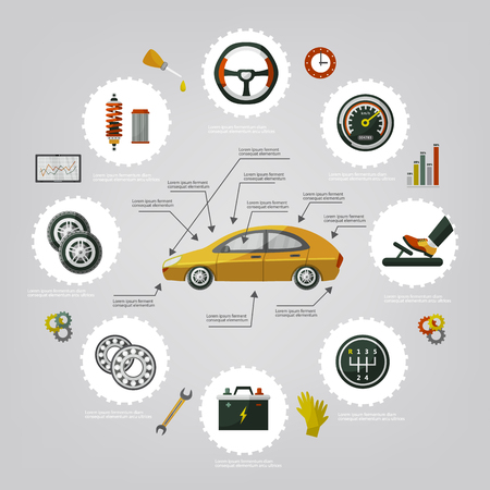 Infographic Poster des flachen Vektorautoservices stellten mit Mannberufsmechaniker, Autoteilen, die Prozess, Werkzeuge, Ausrüstung und Laptop mit Autodiagnoseikonenillustration mit Raum für Text reparieren ein. Standard-Bild - 93770279