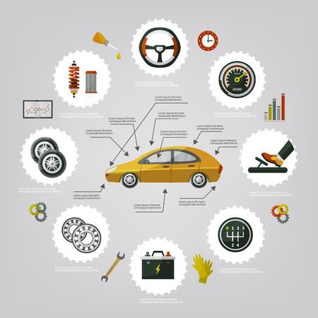 Platte vector auto service infographic posters set met man professionele monteur, auto-onderdelen repareren proces, hulpmiddelen, apparatuur en laptop met auto diagnostiek pictogrammen illustratie met ruimte voor tekst.