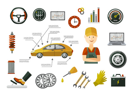 Flat vector car service infographic posters set with man professional mechanic, car parts repairing process, tools, equipment and laptop with car diagnostics icons illustration with space for text.
