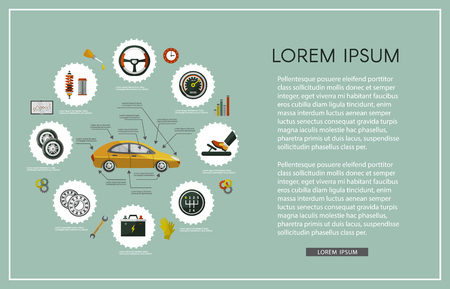 vector flat car service infographics set with mechanic, car parts battery, wheel, repairing process, tools, equipment, laptop with car diagnostics icons. Illustration with text space, green background