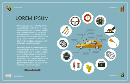 Car service infographics set with mechanic, car parts battery, wheel, repairing process, tools, equipment, laptop with car diagnostics icons. Illustration with text space, green background.