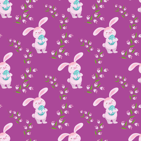 Easter seamless banner with cute fluffy bunny, rabbit, decorated eggs and spring flowers, cartoon vector illustration on pink background. Easter bunny, eggs and flowers seamless pattern. Иллюстрация
