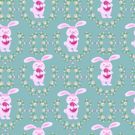 Easter holiday seamless pattern with spring festive elements. Rabbit holding decorated egg and daisy flowers with leaves for your design. Flat style illustration on green background.