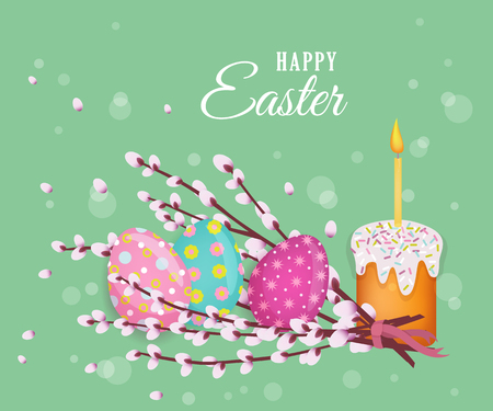 Vector easter holiday poster, banner background template with spring festive elements, decorated eggs, easter cake with candle, pussy willow twigs for your design. Illustration on green background.