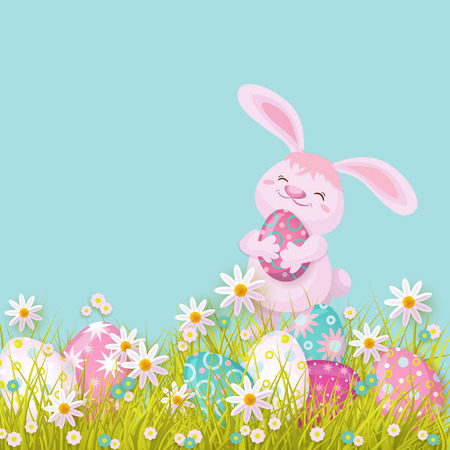 Easter holiday poster, banner background template with spring festive elements - pink rabbit holding decorated eggs, daisy flowers green grass for your design. Illustration on blue background. Illustration