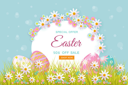 Easter holiday poster, banner background template with spring festive elements - decorated eggs at green grass meadow, daisy flowers for your design. Illustration on green background. Illustration